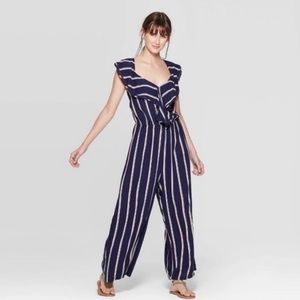Xhilaration Blue Striped Ruffled Jumpsuit NWT